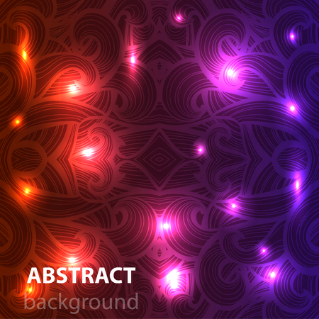 orange swirl: Abstract disco glowing ornament of background. Vector illustration. EPS
