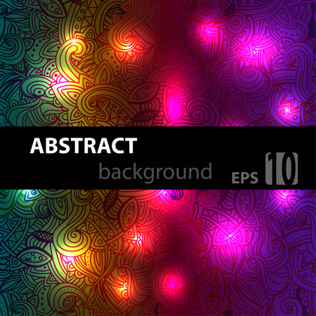 Abstract disco glowing doodle  of background. Vector illustration. EPS