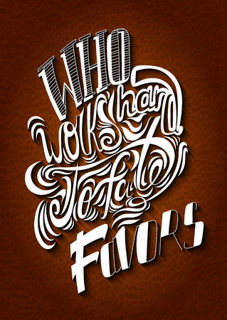 white letters: Vector lettering. White letters written on a brown background. EPS Illustration