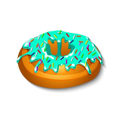 застекленный: Застекленная кольцо пончик, подробные векторные иллюстрации EPS