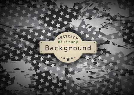Camouflage military monochrome pattern with stars  background. Vector illustration