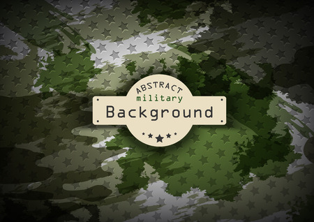 Camouflage military pattern with stars background. Vector illustration