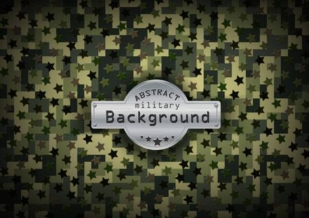 uniform curls: Camouflage military pixel art  pattern with stars background. Vector illustration  Illustration