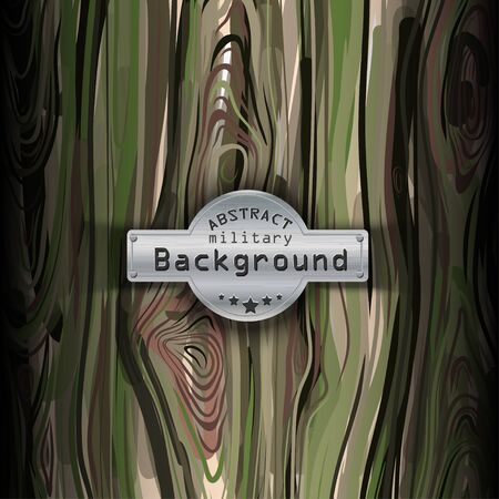 khaki: Camouflage military pattern  with wood background. Vector illustration, EPS