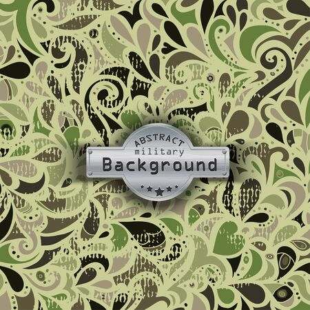 uniform curls: Camouflage military curly decorative pattern background.
