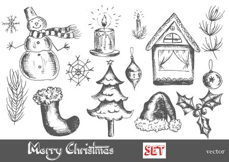 christmas ball: hand drawn New Year and Merry Christmas set. EPS Illustration