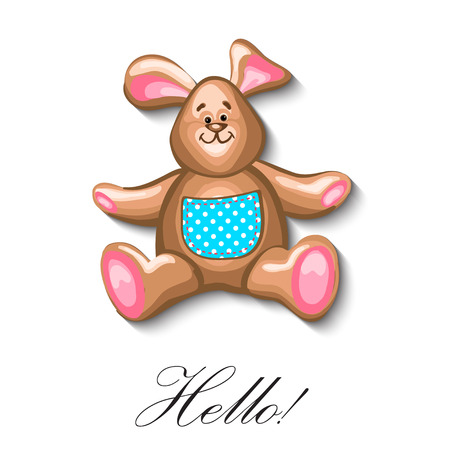 first birthday: little bunny soft toy first birthday greeting card. Vector EPS