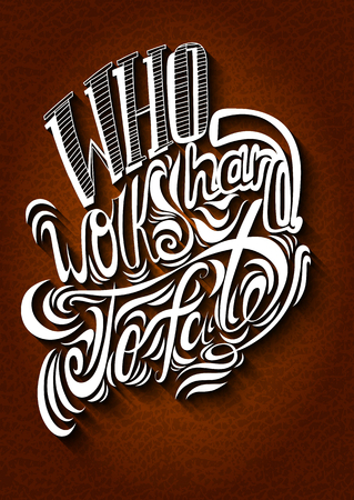 white letters: Vector lettering. White letters written with a brush on a brown background. EPS Illustration