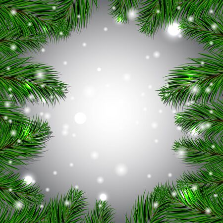green paper: Christmas white background with green fir branches. Vector illustration. EPS