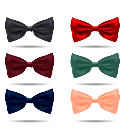 informal clothes: Vector set of silk bow ties on a background. EPS illustration. Illustration