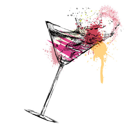 Martini cocktail on white background. Vector illustration. EPS