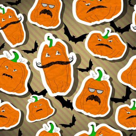 brown stripe: Halloween pumpkins seamless- stickers vector illustration on brown stripe background. Vector illustration. EPS