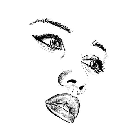 Hand-drawn fashion model portrait