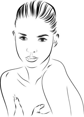 woman washing hair: beautiful woman face hand drawn illustration on white background.