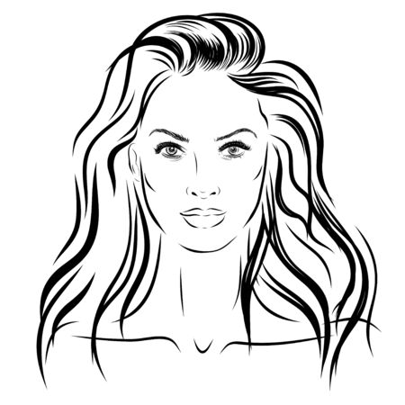 woman washing hair: beautiful woman face hand drawn illustration on white background Stock Photo