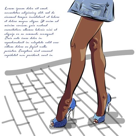 young woman legs up: Illustration with legs of woman in fashion summer blue shoes.