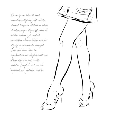 young woman legs up: Illustration with legs of woman in fashion summer shoes. Stock Photo