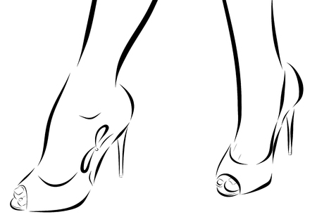 legs woman: Illustration with legs of woman in fashion summer shoes. Stock Photo