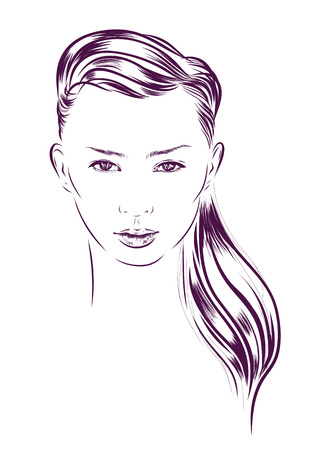 woman washing hair: beautiful woman outline face hand drawn illustration. Stock Photo