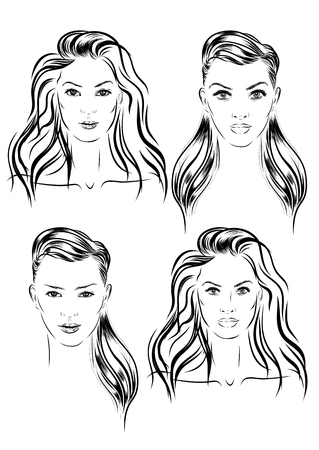 woman washing face: beautiful woman face set hand drawn illustration Stock Photo