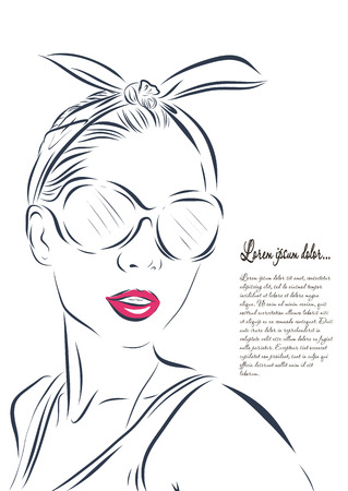 fashion illustration: beautiful woman face hand drawn outline illustration. Stock Photo