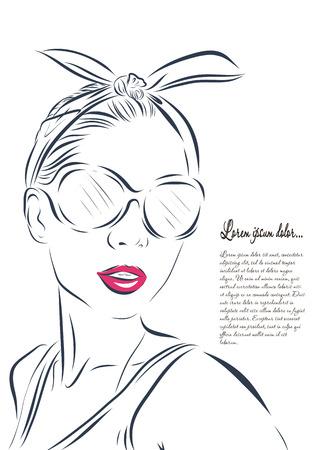 beautiful woman face hand drawn outline illustration. Standard-Bild