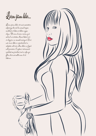 woman washing face: beautiful woman face hand drawn outline illustration. Stock Photo