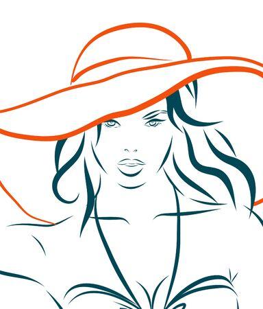 La chica en bikini y sombrero sobre un fondo blanco. ilustración. Foto de archivo - 47280236