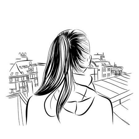 nude girl: beautiful womans neck with city viev hand drawn vector illustration eps 10 Stock Photo