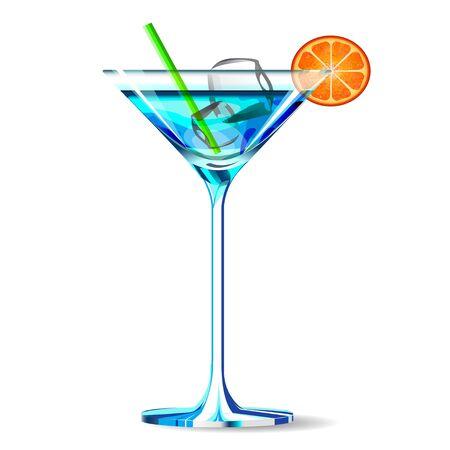 naranja fruta: El icono de c�ctel azul con tubo y frutas de color naranja.