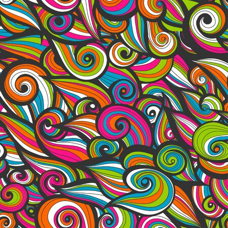 swirl patterns: Curly abstract pattern with multicolored waves. illustration. Stock Photo
