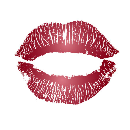 lust: Print of pink lips. illustration on a white background.