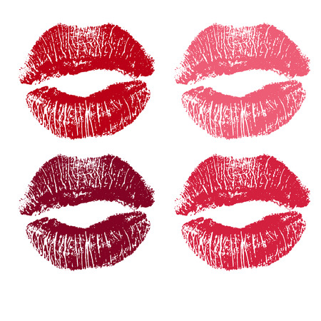 beso labios: conjunto de labios de color rosa. ilustración sobre un fondo blanco.