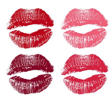 set of pink lips. illustration on a white background.