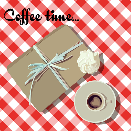 red cup: Red cup coffee with marshmallows. cartoon illustration with checkered tablecloth.