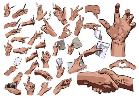 puños cerrados: Las manos grandes fijados en un fondo blanco. ilustración vectorial Vectores