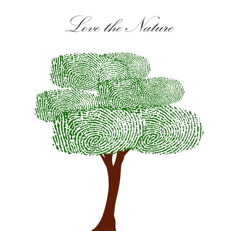 Heart green tree with finger prints vector illustration.