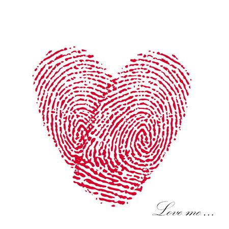 Pink fingerprint with heart on a white background. Vector EPS Illustration