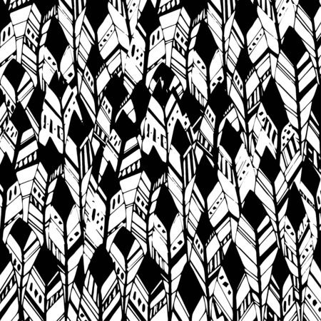 indian ink: Vector Feather background, retro pattern, ethnic doodle collection, tribal design. Ink hand drawn illustration with different indian feathers on white background EPS