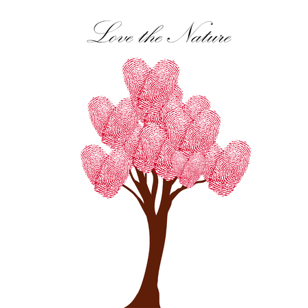 finger prints: Heart pink tree with finger prints vector illustration.