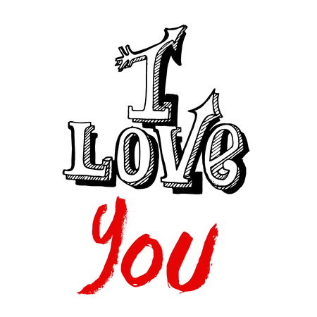 I Love You lettering on a white background. Vector EPS Illustration
