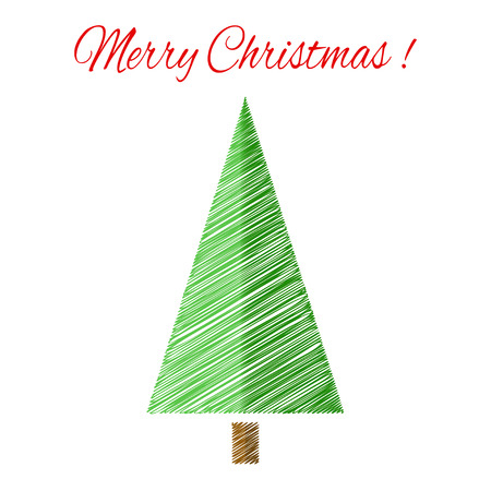 scetch: Christmas tree with scetch lines. Christmas vector card. EPS