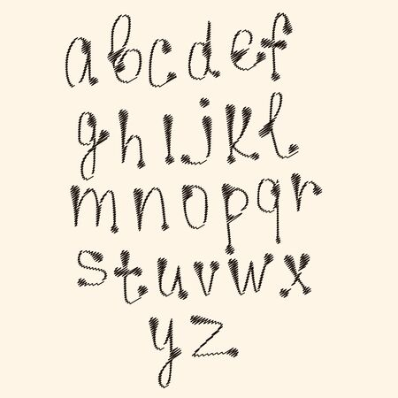 snappy: art sketched stylized alphabet in , black grungy ink font, signs.  Illustration