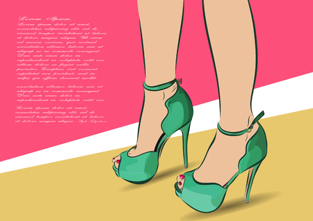 fashion shoes: Young woman shopping for fashion shoes.  illustration with inscription.