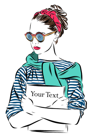 bijoux: beautiful woman in sunglasses with journal vector illustration eps Illustration