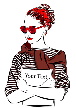 girl glasses: beautiful woman in sunglasses with journal vector illustration eps Illustration
