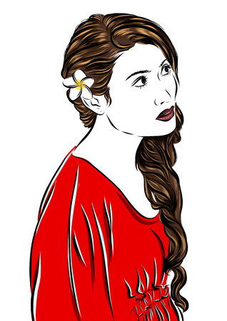 red dress: Vector fashion illustration sketch girl in red dress. EPS
