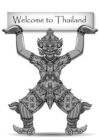 thai motifs: Rakshasa Thai statue. Black outlines isolated on white background with text. Indian, Arabic, Islamic, African, Hindu, Thai, ottoman motifs. Ethnic, tattoo art, spiritual boho design. EPS