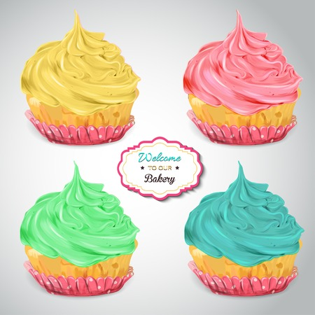 cupcakes isolated: Set of delicious cupcakes with different toppings. Isolated on grey background. Vector EPS