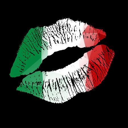 nude girl: Italian Lipstick kiss on black background. Vector EPS illustration